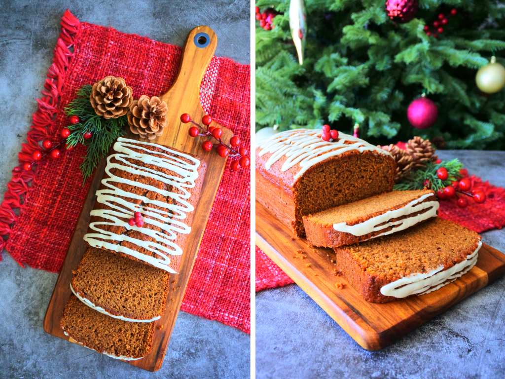 A composite image of an iced and sliced loaf of gingerbread on a wooden board