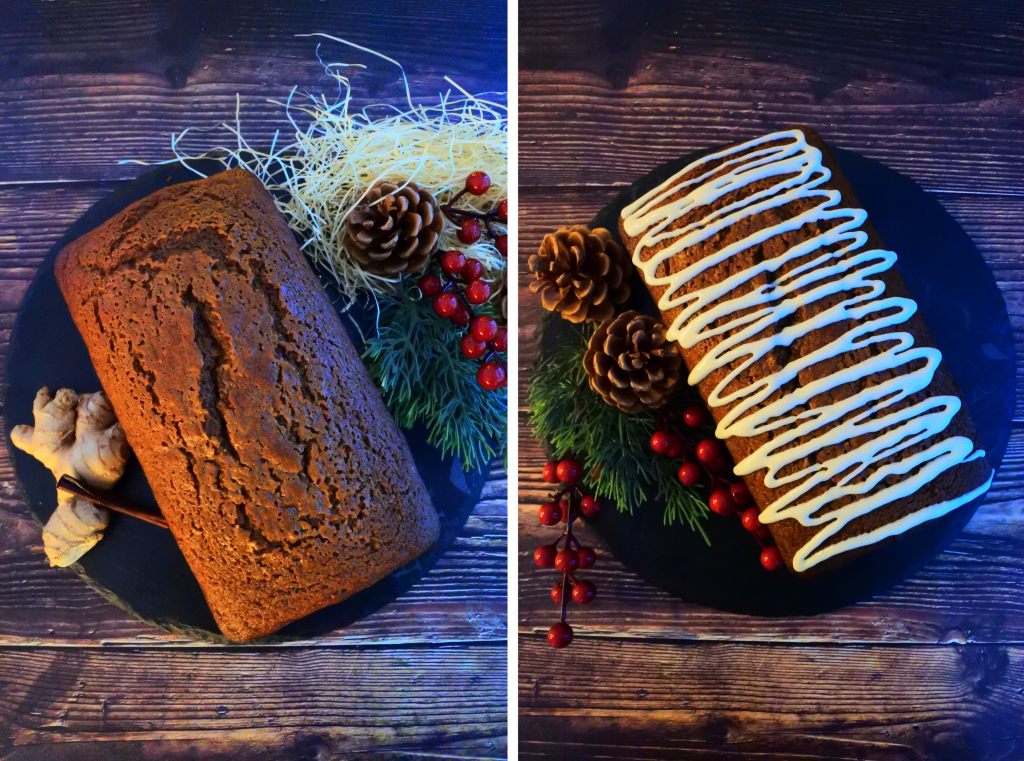 A composite overhead image of a gingerbread loaf on a black slate platter with and without icing