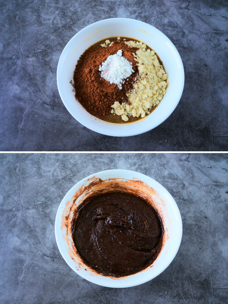 A composite image of dry ingredients being added into the wet ingredients for a chew gluten free brownie batter