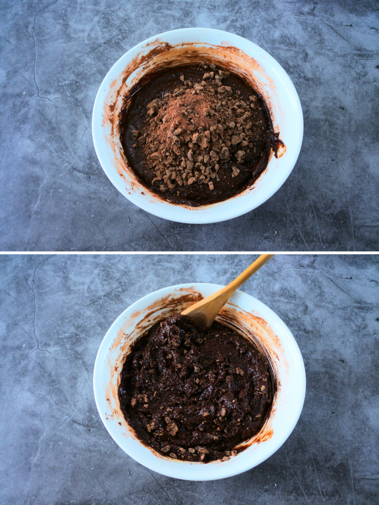 A composite image of a bowl of brownie batter with chopped dark chocolate chunks mixed into batter