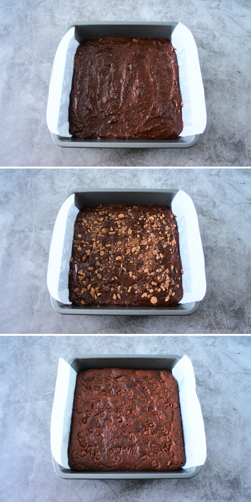 A composite image of gluten free chewy brownie batter poured into a greased and parchment lined pan and baked.