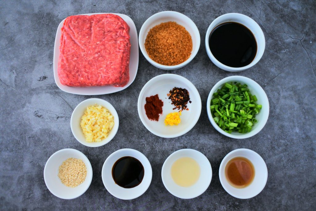 An overhead image of ingredients for a homemade teriyaki ground beef bowl