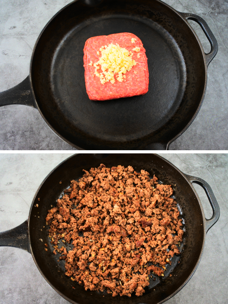 A composite image of ground been and garlic being cooked into beef crumbles