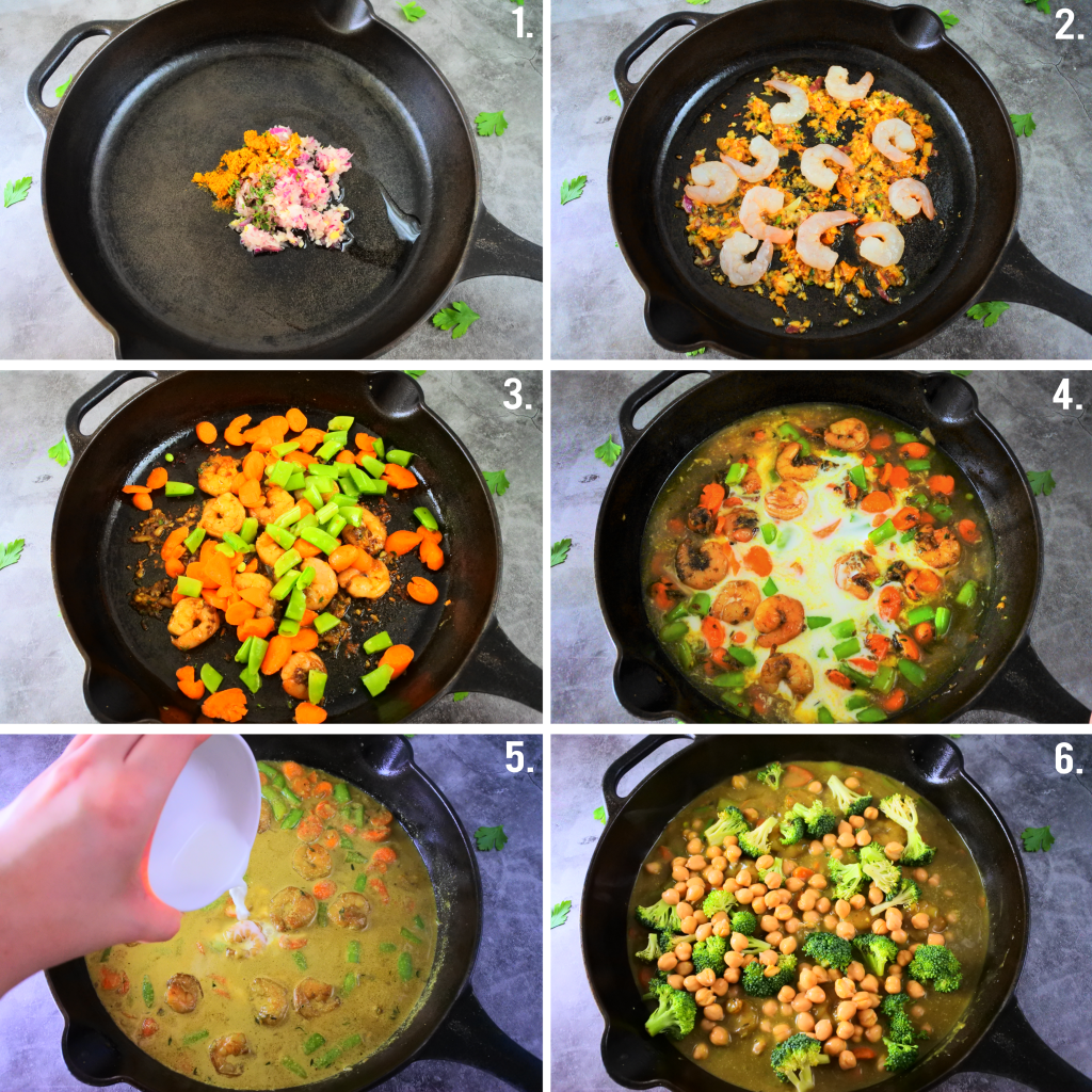 A composite image showing how to make a shrimp coconut curry step by step