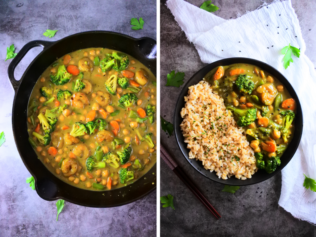 A composite image of a skillet and a dish with steamed rice and shrimp coconut curry