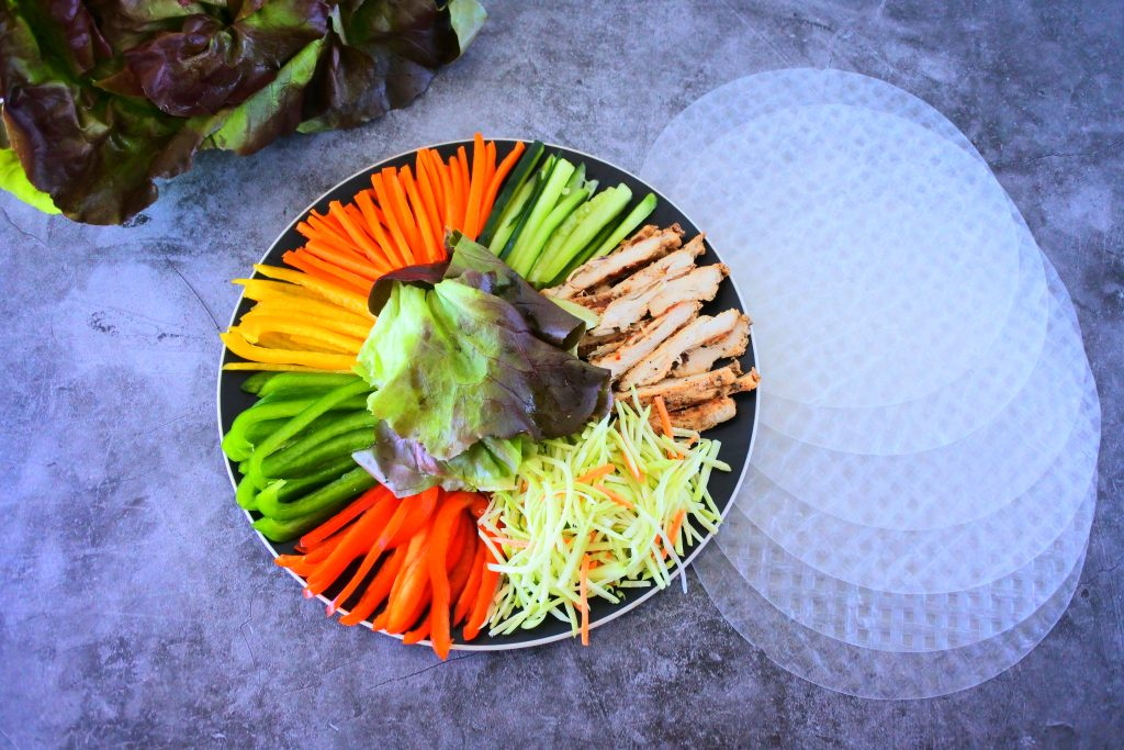 An overhead image of ingredients for a simple summer roll