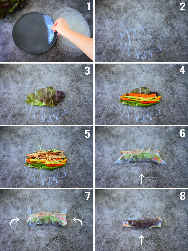 A composite image of how to assemble and roll simple summer rolls