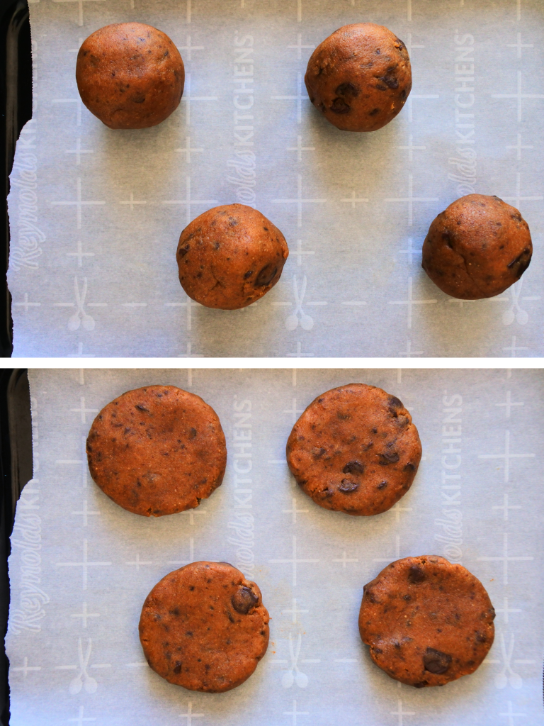 A composite overhead image of a ball of cookie dough and a flattened round of dough on parchment
