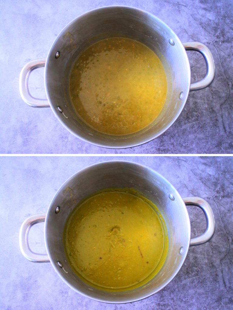 A composite image of a pot of cooked and softened split peas before and after being blended with an immersion blender