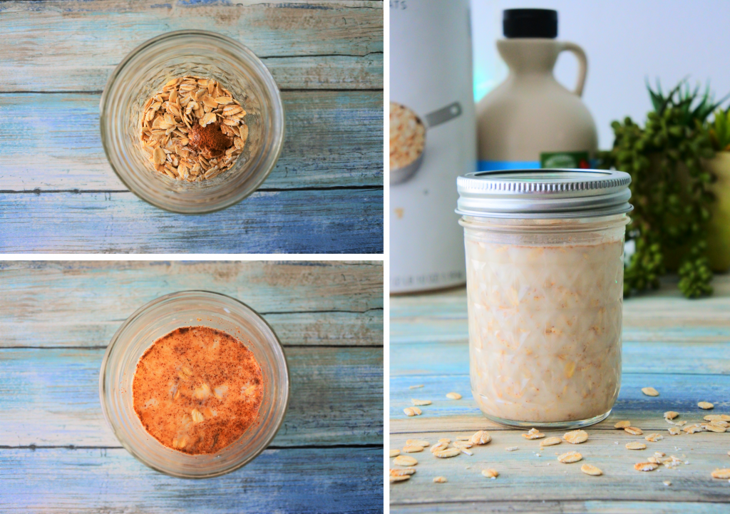 A composite image of overnight oats being made by adding oats and spices to a jar and topping with milk and sweetener in a mason jar