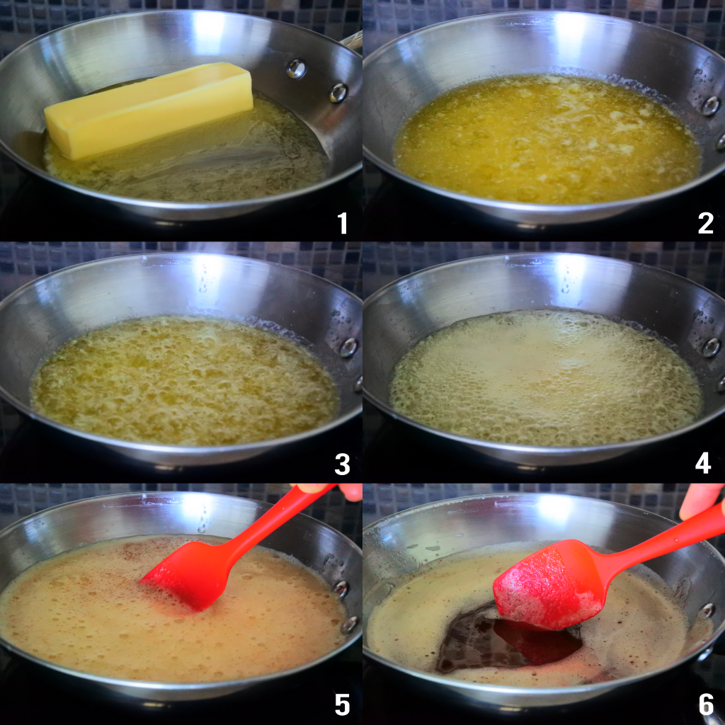 A composite image of a stick of butter being slowly browned in a skillet to make brown butter
