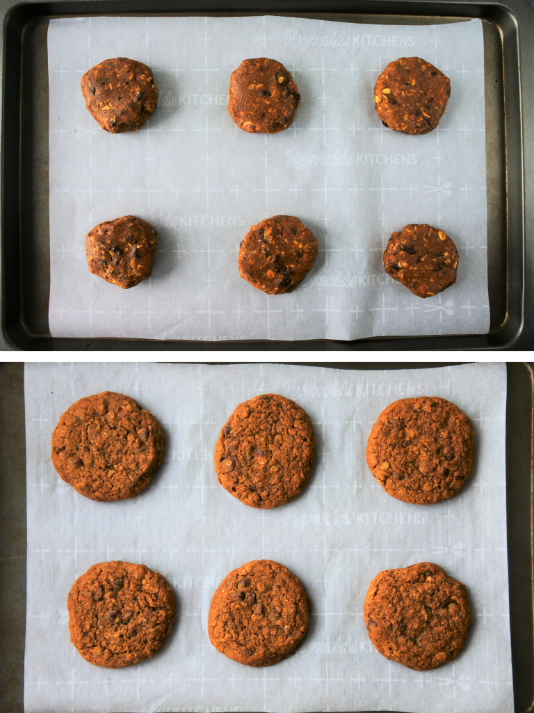 A composite overhead image of a parchment-lined tray with 6 portions of oatmeal chocolate chip cookie dough before and after being baked