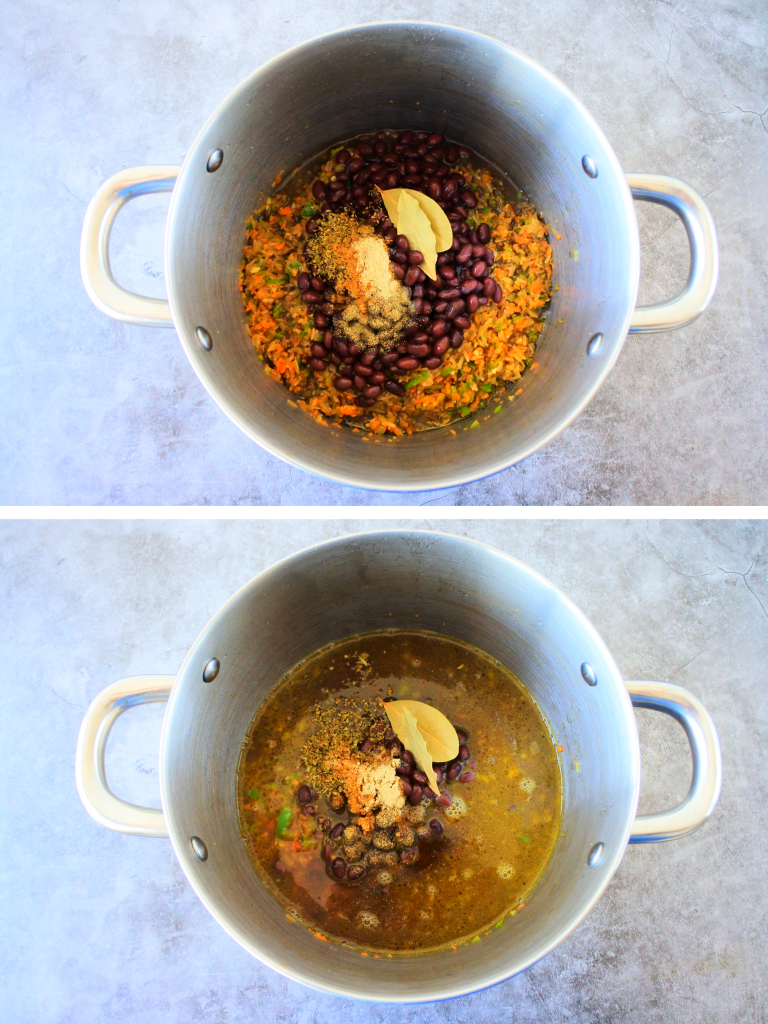 A composite image of a pot of ingredients for congri/moros before being simmered and cooked.