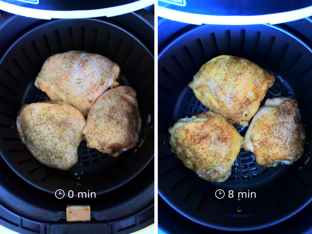 A composite image of three salt and pepper seasoned chicken thighs in an air fryer basket at the 0 minute mark and at the 8 minute mark