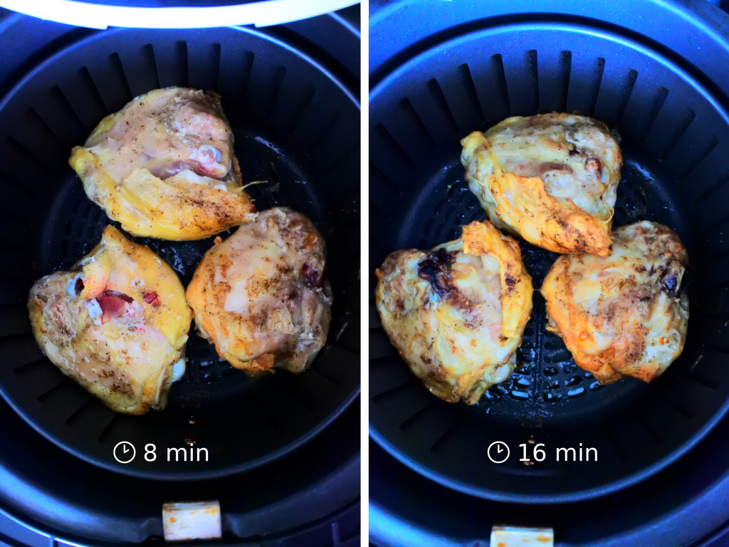 A composite image of three salt and pepper seasoned chicken thighs in an air fryer basket at the 8 minute mark and at the 16 minute mark