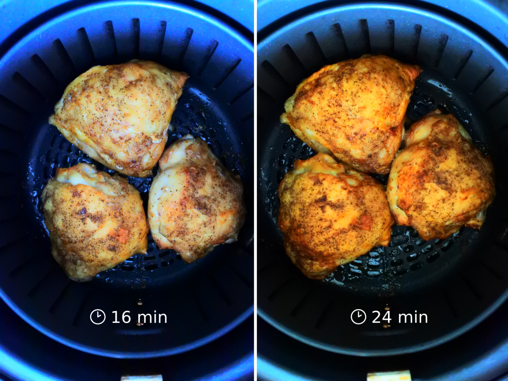 A composite image of three salt and pepper seasoned chicken thighs in an air fryer basket at the 16 minute mark and at the 24 minute mark