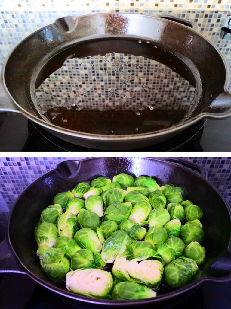 A composite image of brussels sprouts being charred and caramelized in rendered bacon fat in a cast iron skillet
