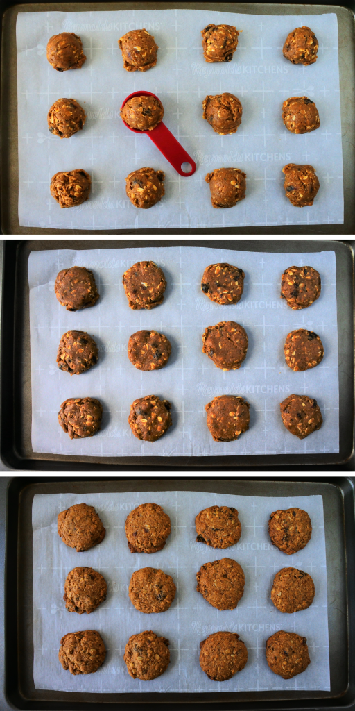 A composite image of a tray of portioned out oatmeal raisin cookie dough being scooped, flattened and baked