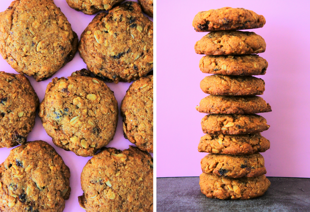 A composite image of freshly baked oatmeal raisin cookies on a pink background
