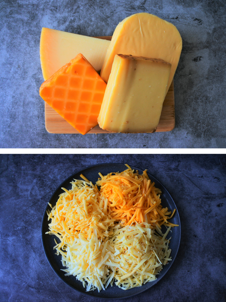 An overhead image of four different types of cheese on a wooden board and another image of a plate containing the cheeses in shredded form on a plate.