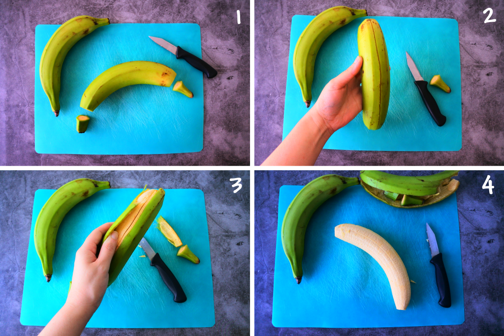A composite image of how to peel a green plantain in prep for making fried plantain chips