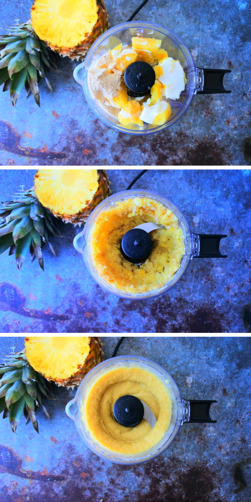 A composite image of pineapple popsicle mix being blended and combined into a smooth mixture.