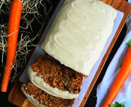 Carrot Cake Loaf with Greek Yogurt Frosting (Clean Eat, Gluten Free!)