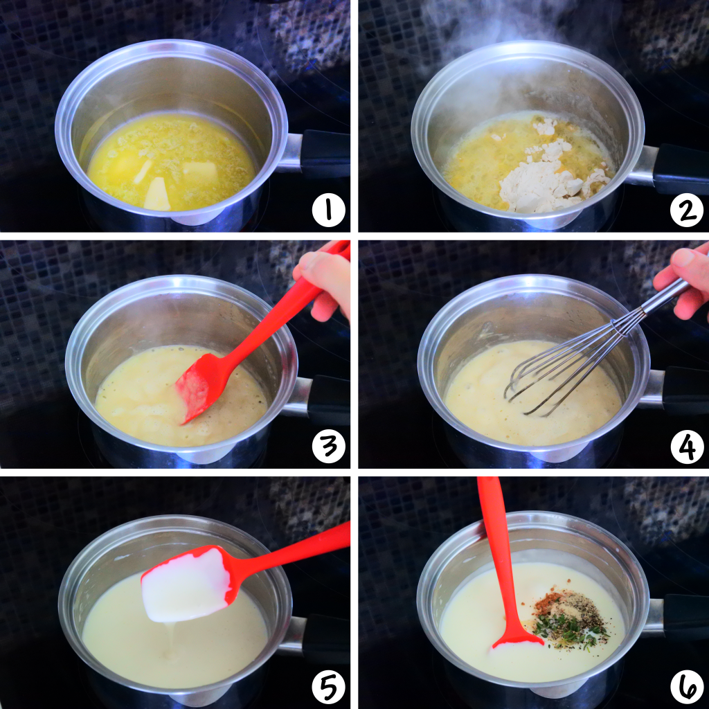 A composite image showing how the simple Béchamel for potato au gratin is made