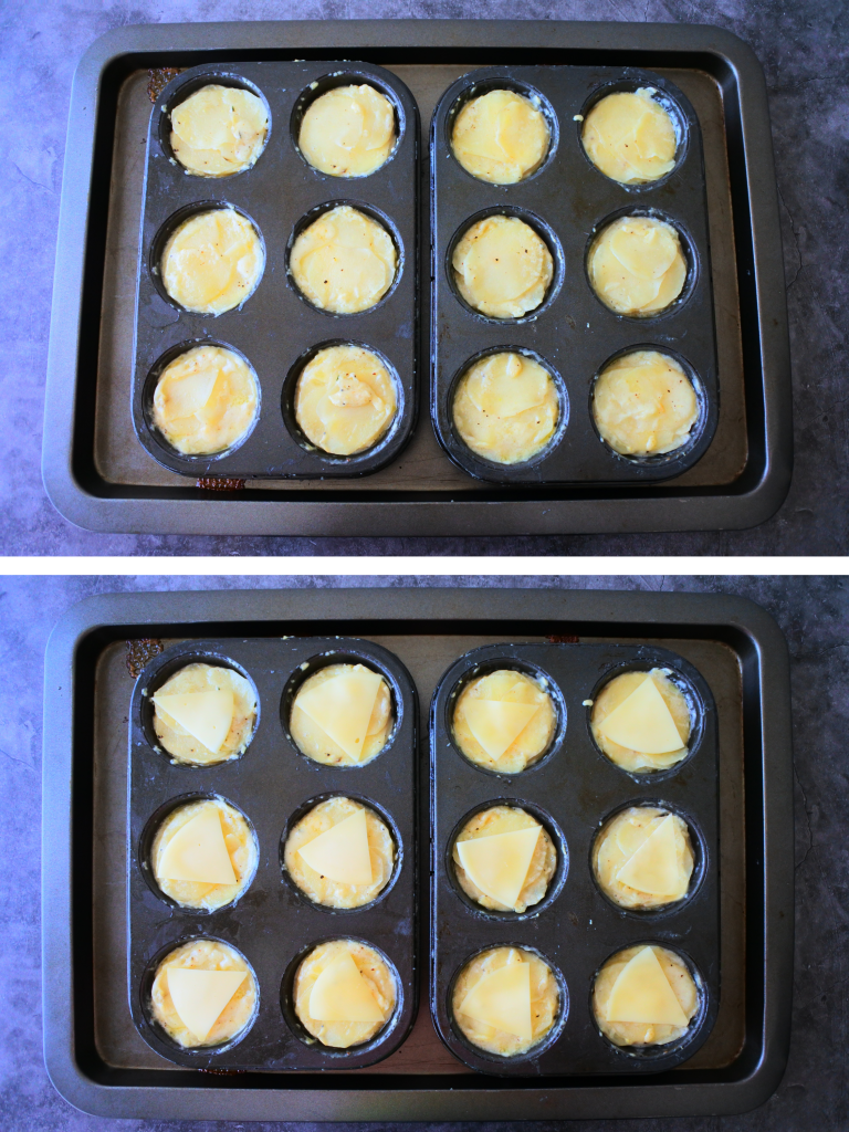 An overhead composite image of baked-until-tender potato au gratin that are then topped with a final layer of cheese before being put under the broiler