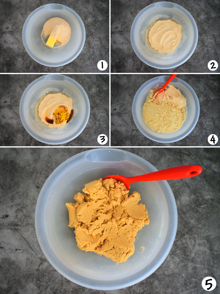 A composite image showing the dough for a gluten free lemon shortbread cookie being made