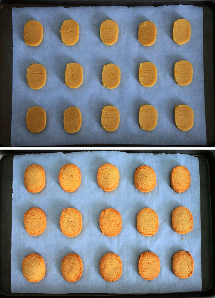 An overhead composite image of Gluten free lemon shortbread cookies before and after being baked and on a parchment lined tray
