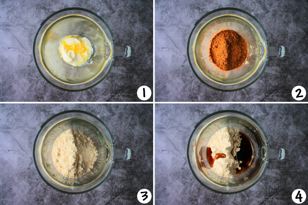 A composite image showing steps 1-4 of ice cream base being made