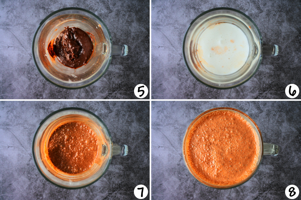 A composite image showing steps 5-8 of ice cream base being made