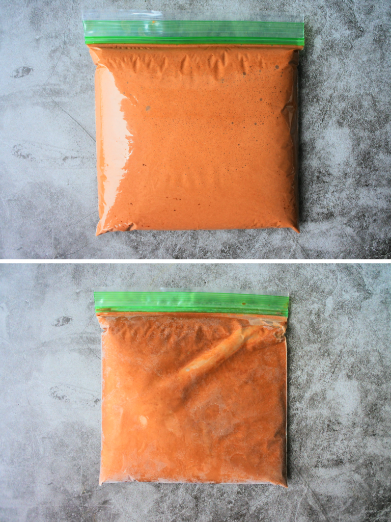 A composite image of a bag of chocolate ice cream base mix before and after being frozen