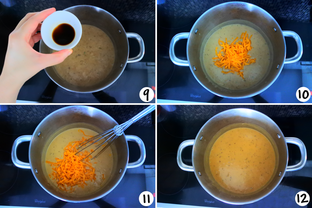 An overhead composite image of a stock pot showing the various stages of broccoli cheddar soup being made