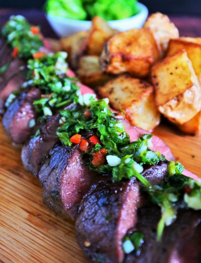 Grilled Beef Heart with a Chimichurri Sauce