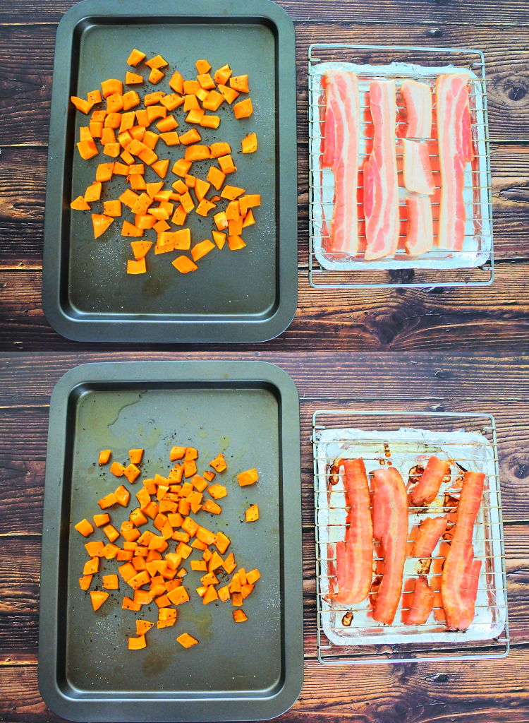 A composite image of a tray of butternut squash and another tray with bacon before and after being baked