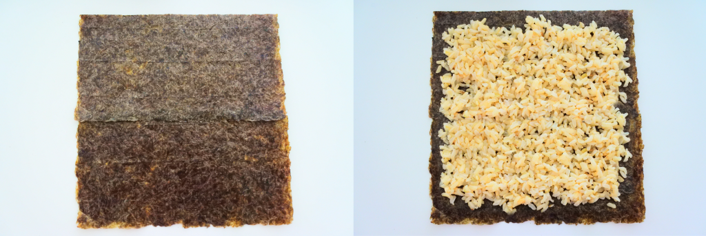 An overhead image comprising of two images. On the left is two overlapping sheets of sushi nori, and on the right two sheets of overlapped nori covered in rice.