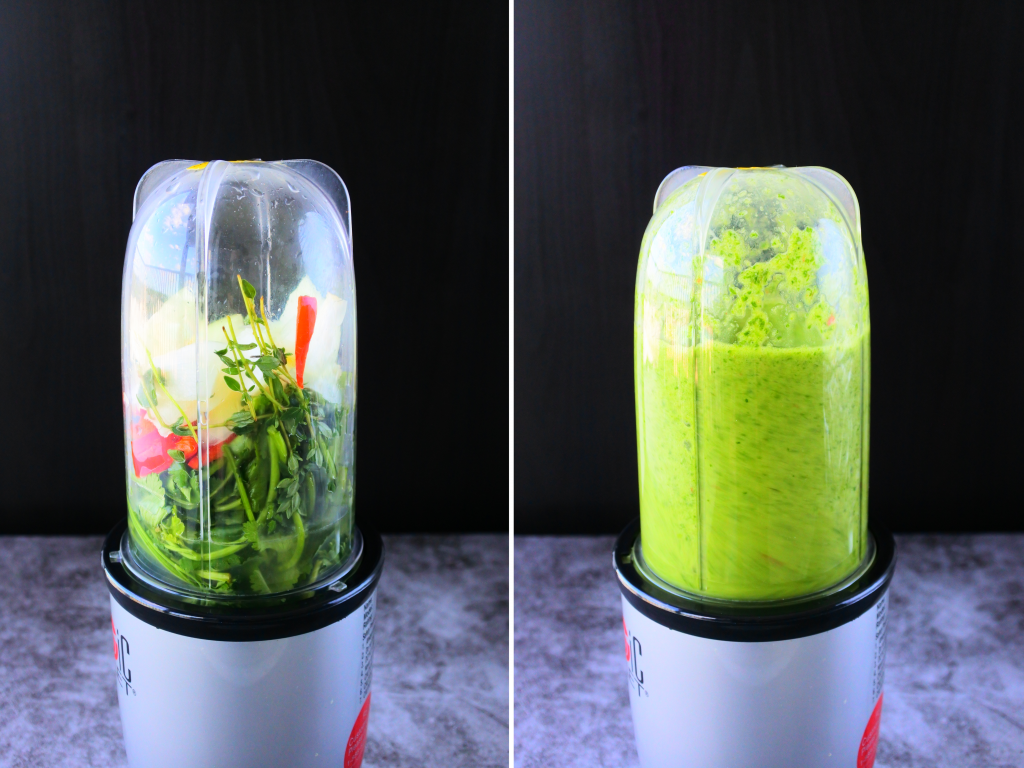 A composite image showing the before and after of herbs being blended together for a green seasoning