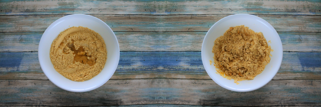 A composite image of two bowls. On the left half of the required oil and water added to the chickpea mixture and on the right, a bowl with the liquid mixed in.