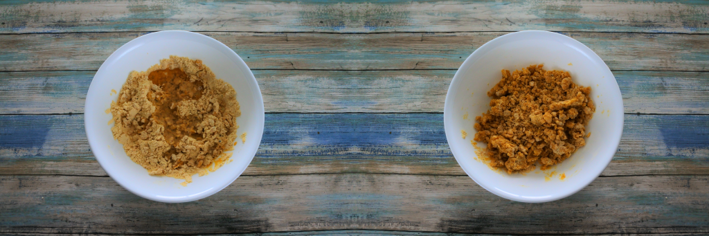 A composite image of two bowls. On the left the remaining oil and water added to the chickpea mixture and on the right, a bowl with the liquid mixed in.