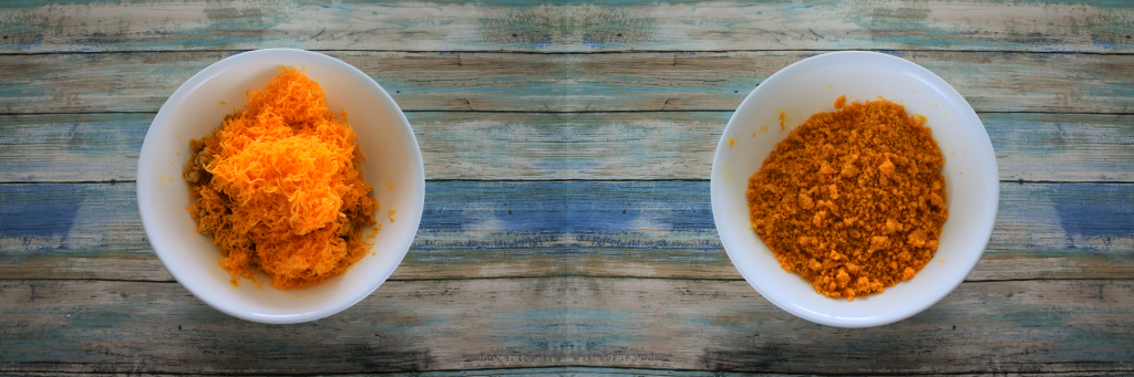 A composite image with a crumb chickpea flour mixture with finely shredded cheese added in on the left, and a bowl with the cheese worked into the crumb flour mixture