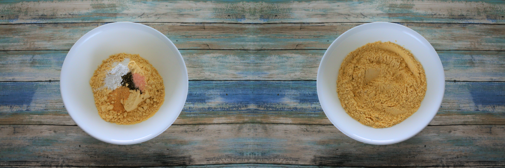 A composite of two images: On the left a bowl containing chickpea flour, salt, pepper, garlic powder, and baking powder. And one the right an image of a bowl of chickpea flour with everything mixed in.