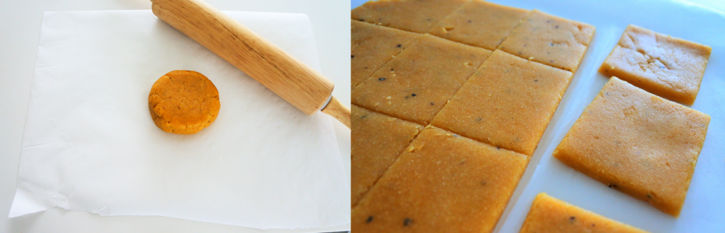 A composite image of a disc of chilled chickpea cracker dough on a sheet of parchment with a rolling pin on the left side, and a close up image of rolled out chickpea cracker dough that has been sliced into squares