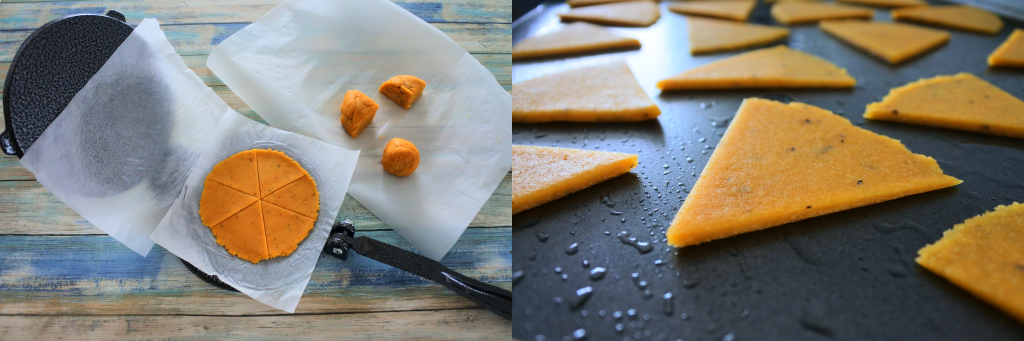A composite image showing chickpea cracker dough being pressed with a tortilla press on the left and a close up of chickpea cracker dough cut into triangles on a baking tray