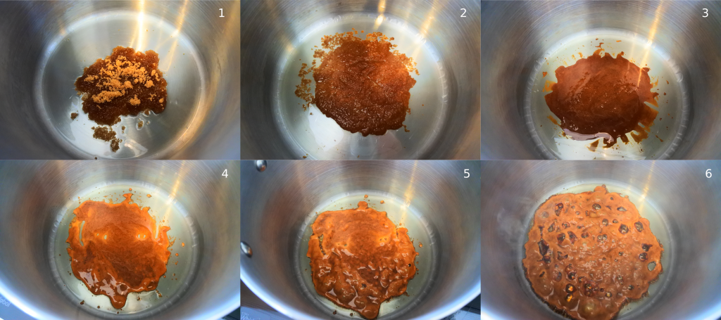A collage of images depicting the process of browning/caramelizing sugar for a Caribbean-style stew.