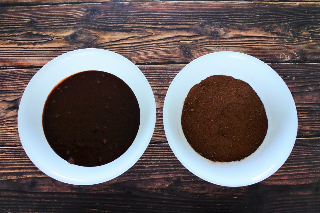 An overhead image of two bowls, one containing the wet ingredients and the other the dry ingredients for clean eat brownies
