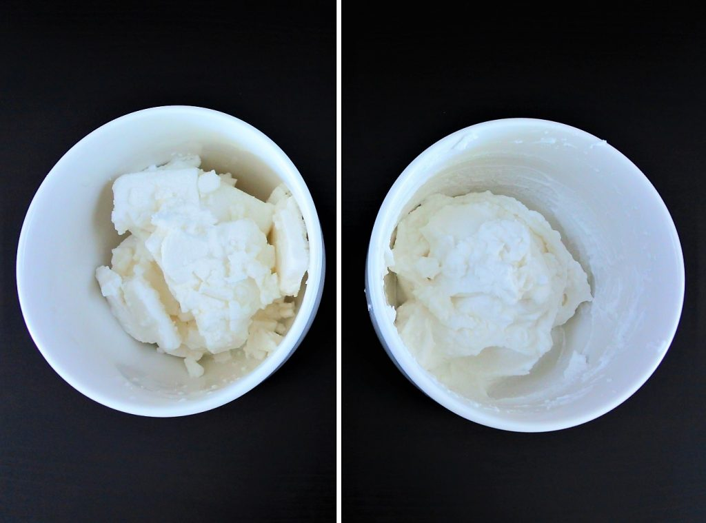 An overhead side by side image of coconut cream in a bowl before and after being whipped