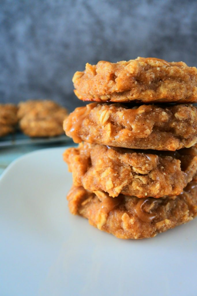 A head on image of a stack of banana oatmeal breakfast cookies