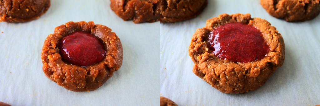 A composite image showing a PB&J thumbprint cookie filled with jam before and after being baked